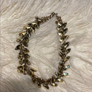 Gold tone crystal necklace